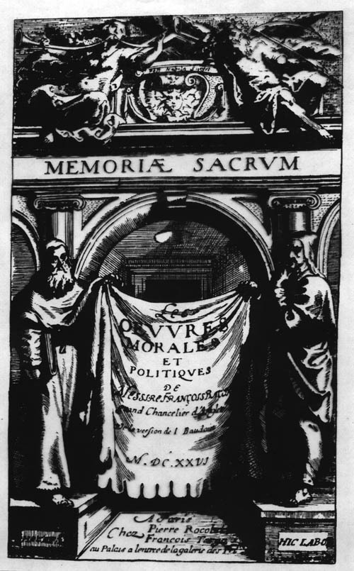 Bacon, Ouvres-Morales (1626) titlepage