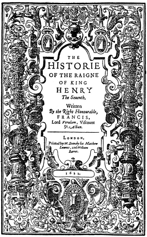 Bacon, History of Henry VII (1622) titlepage