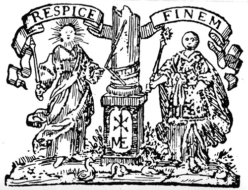 Freemasonic titlepage emblem: Francis Bacon, Essays (German transl.1654)