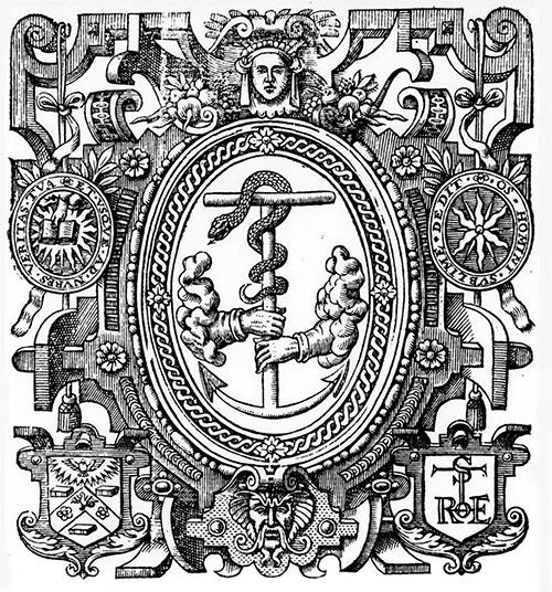 Anchor of Faith (Gnostic Serpent) titlepage emblem: Edmund Spenser, Faerie Queene, Part 2 (1617)