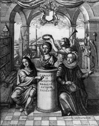 Spratt, The History of the Royal Society of London (1667) frontispiece
