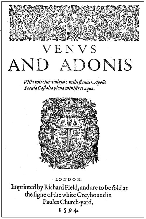 Shakerspeare, Venus and Adonis (1594) titlepage