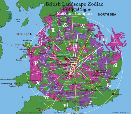 Landscape Zodiac of Britain with Masonic Compass
